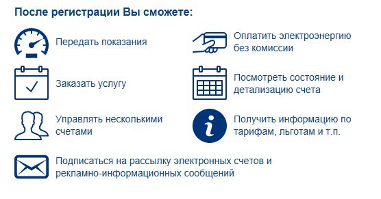 Описание функционала личного кабинета мосэнергосбыта